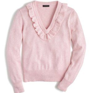 J. Crew Pink Ruffle Vneck Sweater